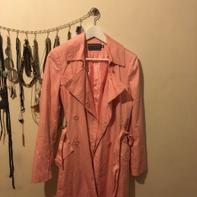 Vintage Cotton Candy Pink Trench Coat