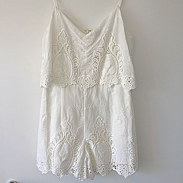White Embroider Playsuit Size 10