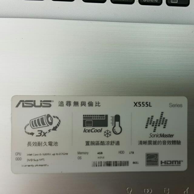 只賣到星期日晚上21:00華碩x555LF筆記型電腦15.6吋去年購買,保固到2017年4月