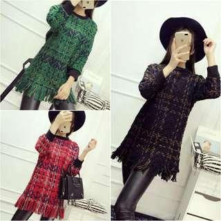 新款冬季針織粗花呢長版加厚寬鬆流蘇毛衣