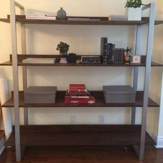 Brown Grey Wooden 4 Tier Custom Built Shelf