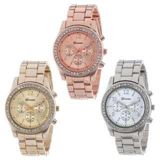 🚚 日內瓦 三眼錶 水鑽錶 鋼錶 商務錶 金錶 玫瑰金 男錶 對錶 情人節禮物 交換禮物 情侶款 現貨 閨蜜 錶 手錶