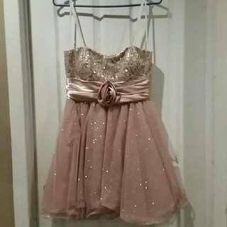 Glittery Rose Pink Semi Formal Dress