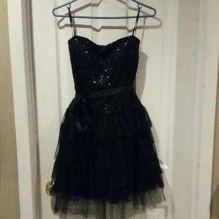 Toulle Sparkly Black Semi Formal Cocktail Dress