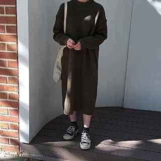 長版針織毛衣連身裙
