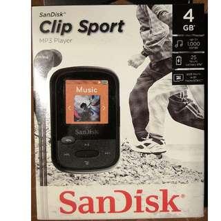 New Sandisk Clip Sport MP3 Player 4GB Pack SDMX24-004G-G46K (black) or RED