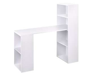 6 Storage Shelf Office Computer Desk White