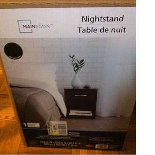 Mainstays Espresso Nightstand - NEW IN BOX - ASSEMBLY REQUIRED