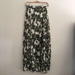 Top Shop Midi Hi Low Printed Split Front Skirt AU 8