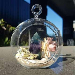 Round Glass Terrarium With Fluorite Crystal Point #decluttermarch
