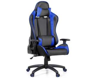 PU Leather & Mesh Reclining Office Desk Gaming Executive Chair - Blue