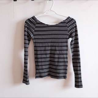 Zara Wide Shoulder Stripe Top
