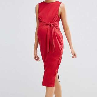 *NEW* ASOS Maternity Red Knee Length Dress UK 8