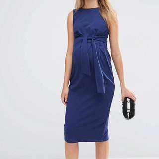 ASOS Maternity Dark Blue Knee Length Dress UK 8