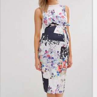 ASOS Floral Maternity Knot Detail Dress (UK 8)