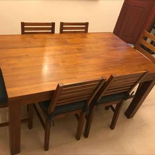 SCANTEAK TEAKWOOD DINING TABLE WITH 6 Chairs For Immediate SALE