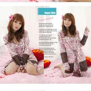 日系性感薄紗式可愛睡衣超值三件式-S642