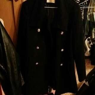 韓製雙排扣毛呢混羊毛大衣