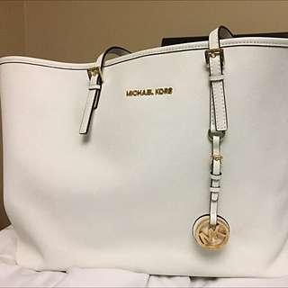 Authentic White Michael Kors Tote Bag