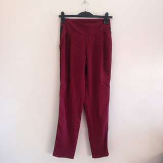 Red High Waisted Formal Pants