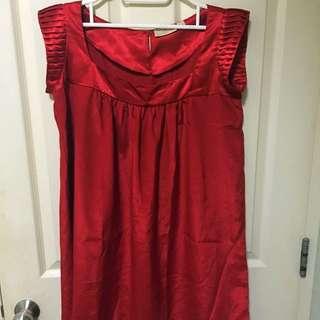 Forme Red Babydoll Dress Sz M
