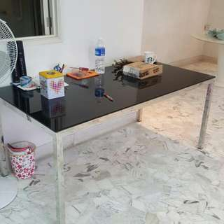 Black Glass Dining Table With Chrome Legs.