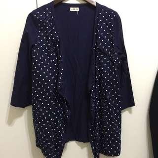 日系 百搭藍底白點 罩衫 外套