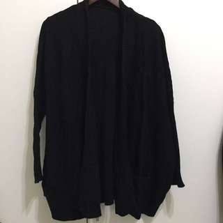 黑色針織外套 無扣 長版