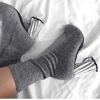 Public Desire Sock Style Boots With Silver Heel
