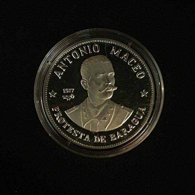 1977 Cub. Caribe Karibik Antonio Maceo 20 Pesos Silver Coin Proof-Struck