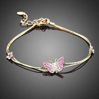 SWA ELEMENTS Austrian Crystal Butterfly and Flower Charm Bracelet