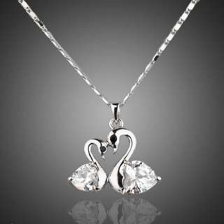 Crystal Big goose and little goose connected Pendant Necklace