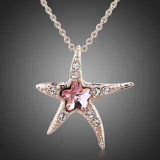 Starfish with Pink Wintersweet SWA ELEMENTS Austrian Crystal Pendant Necklace