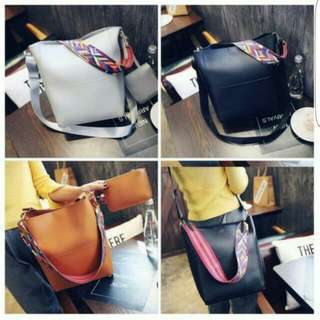 Korean 2in1 Bag With Colourful Strap N Pouch