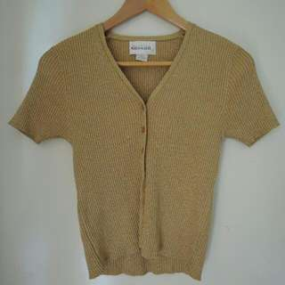 Vintage Sparkly Gold Short Sleeve Cardigan