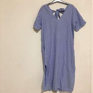 (保留)女孩別哭 古著 藍直條紋長版上衣