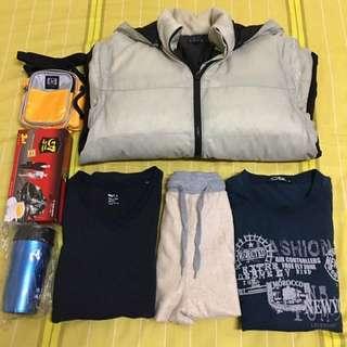ELLE羽毛外套+NET長袖T恤+CBK長袖T恤+時尚短褲+越南咖啡+HP包+隨行杯