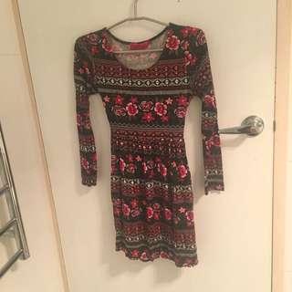 Boohoo.com Red & Black Skater Dress