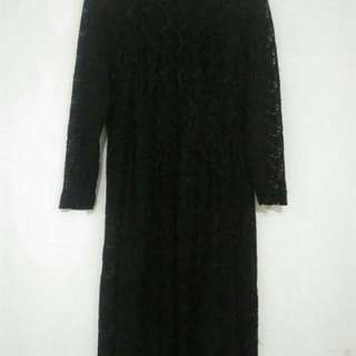 Dress Brokat Hitam Pekat Elegant