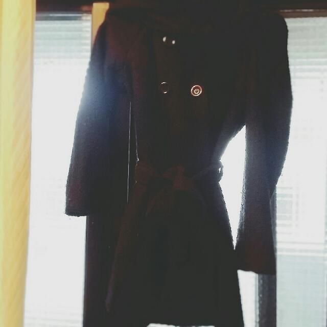 厚毛呢長版大帽子外套