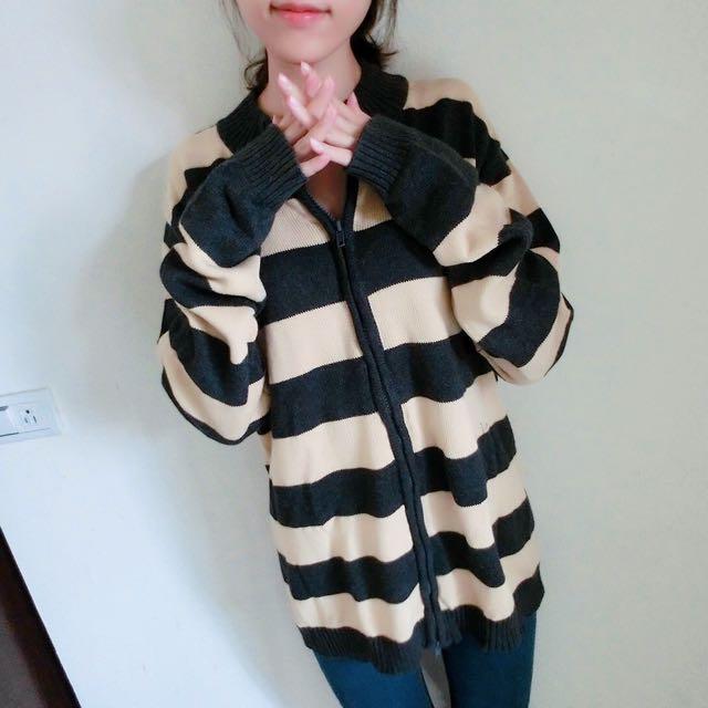 條紋針織拉鍊毛衣外套