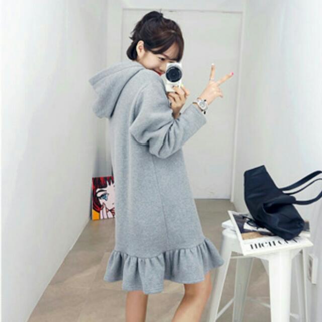 現貨韓版 加厚連帽魚尾連身裙洋裝