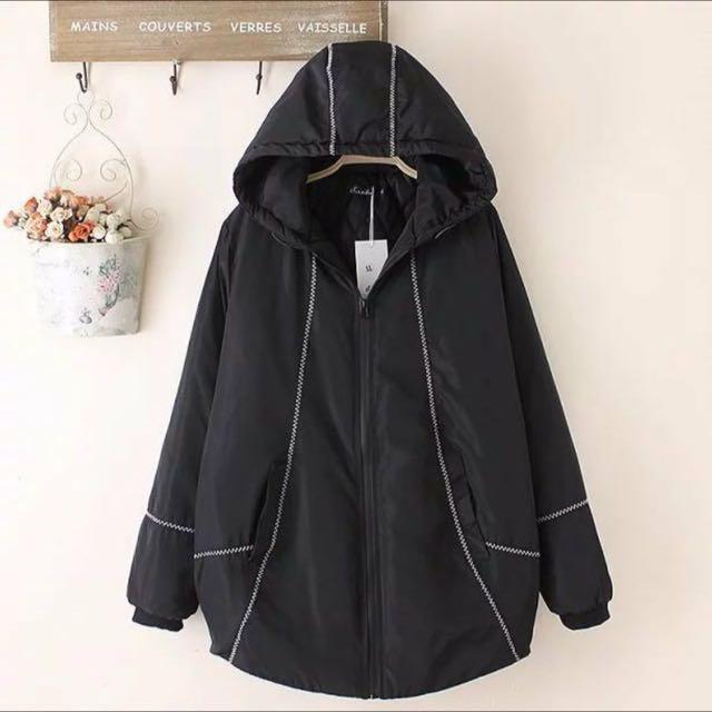 全新 冬天黑色連帽鋪棉外套