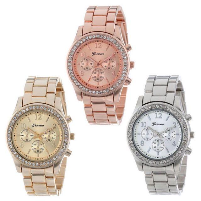 日內瓦 三眼錶 水鑽錶 鋼錶 商務錶 金錶 玫瑰金 男錶 對錶 情人節禮物 交換禮物 情侶款 現貨 閨蜜 錶 手錶