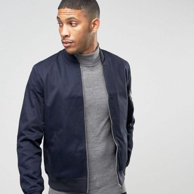 offer discounts release date perfect quality INSTOCK] ASOS Men's NAVY Bomber Jacket - XXS, Men's Fashion ...