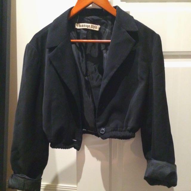 Black Cropped Long Sleeve Blazer Size Medium