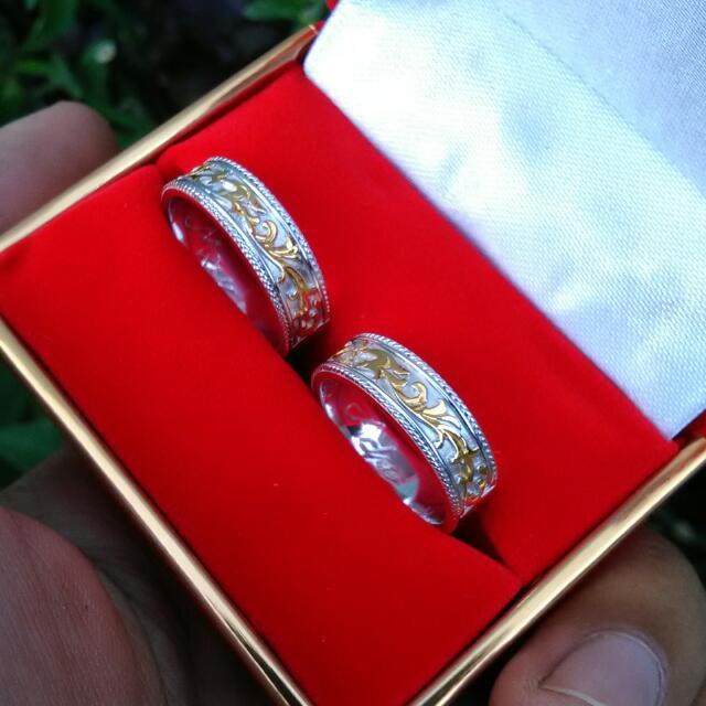 Cincin Kawin / Cincin Couple Perak 925 Kombinasi Gold And Rhodium Plated