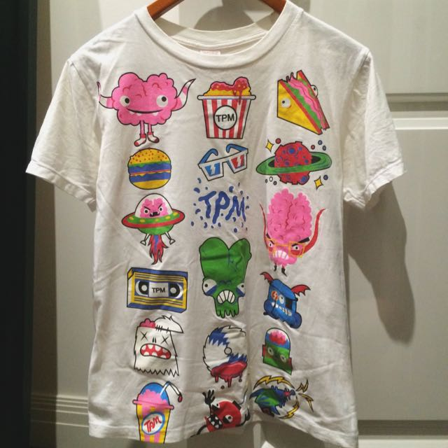 Cute White Crew Neck Tshirt With Monster
