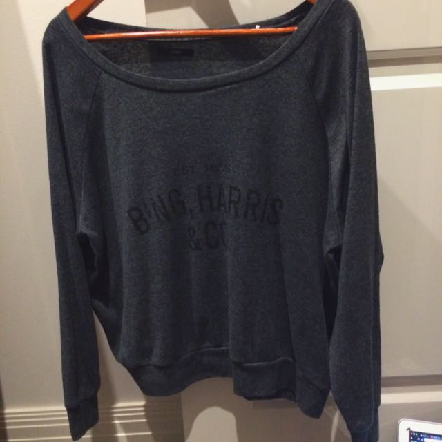 Dark Grey Baggy Comfy Long Sleeve Top Large