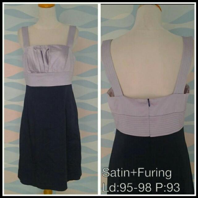 Dress Mini Ungu Hitam Elegant